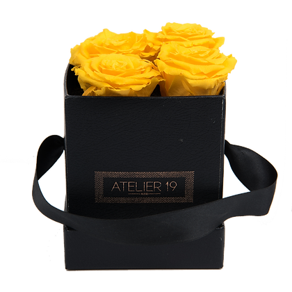 CLASSIC 4 ETERNAL ROSES - GOLDEN YELLOW - BLACK SQUARE BOX