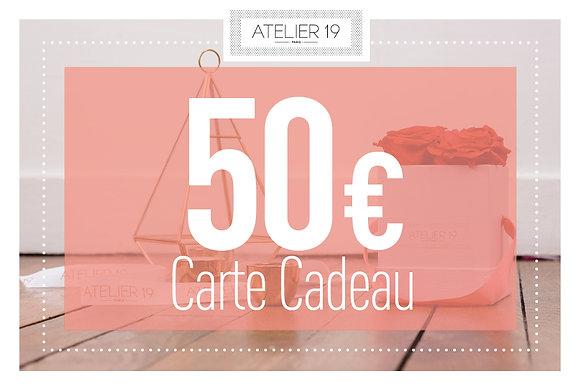 Carte Cadeau 50€ - Atelier 19