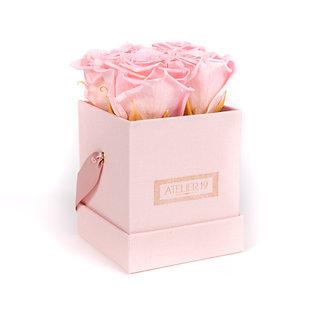 4 Roses Eternelles Rose Tendre - Box carrée Rose Poudré