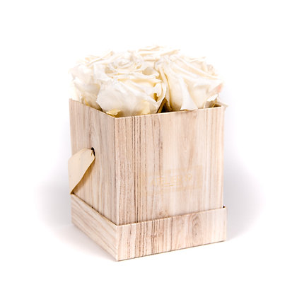 4 Eternal Roses - Pure White - Light Wood square Box