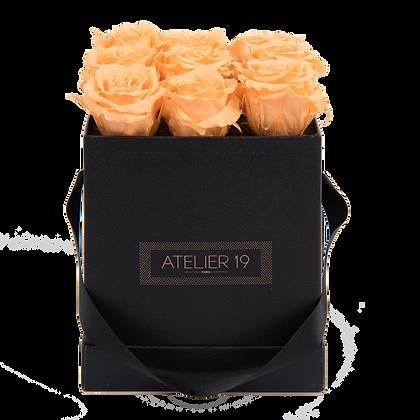 9 Roses Eternelles Pêche Velouté - Box carrée Noire