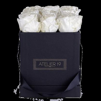 9 Roses Eternelles Blanc Pailleté - Box carrée Noire