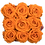 Thumbnail: 9 Roses Eternelles Orange Vibrant - Box carrée Bois Clair