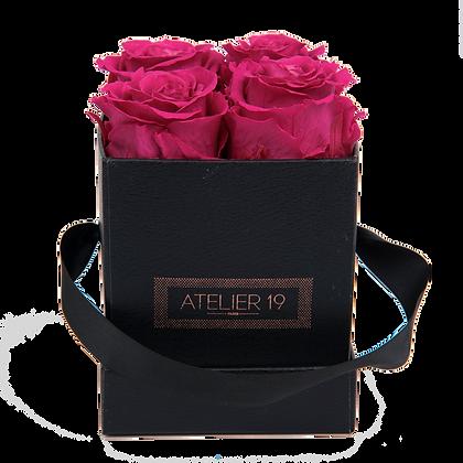 4 Roses Eternelles Fuchsia Peps - Box carrée Noire