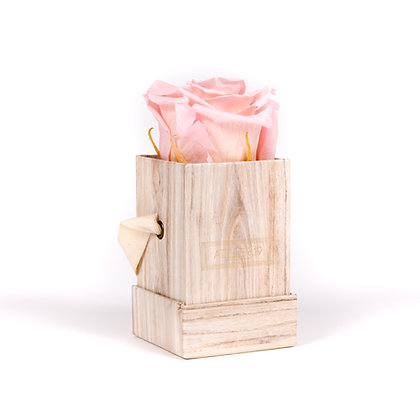 1 Eternal Rose - Soft Pink - Light Wood square Box