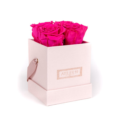 4 Roses Eternelles Fuchsia Peps - Box carrée Rose Poudré