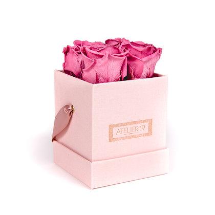 4 Roses Eternelles Bois de Rose - Box carrée Rose Poudré