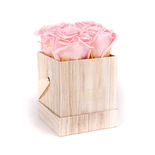 4 Eternal Roses - Soft Pink - Light Wood square Box