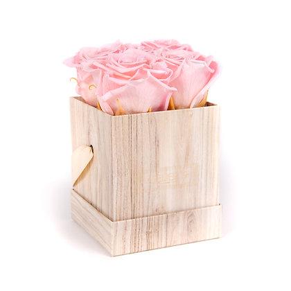 4 Eternal Roses - Soft Pink - Light Wood square Box