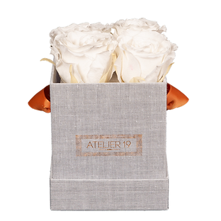 CLASSIC 4 ETERNAL ROSES - PURE WHITE - GREY SQUARE BOX
