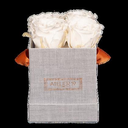 4 Roses Eternelles Blanc Pur - Box carrée Grise