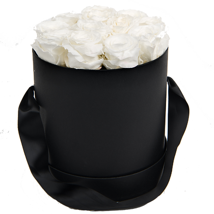 MAXI 15 ETERNAL ROSES - PURE WHITE - BLACK ROUND BOX