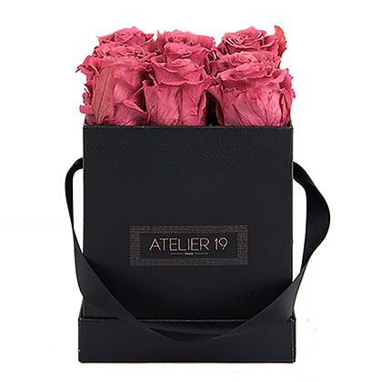 9 Roses Eternelles Bois de Rose - Box carrée Noire