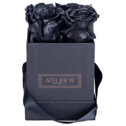CLASSIC 4 ETERNAL ROSES - GLITTER BLACK - BLACK SQUARE BOX