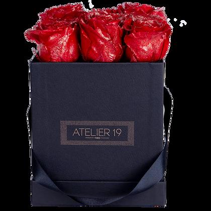 9 Roses Eternelles Rouge Pailleté - Box carrée Noire