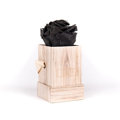 1 Eternal Rose - Deep Black - Light Wood square Box