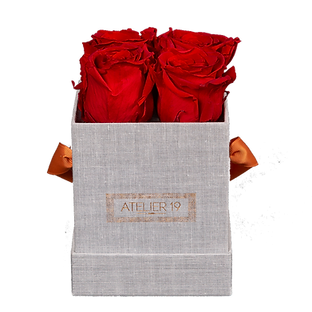 CLASSIC 4 ETERNAL ROSES - PASSION RED - GREY SQUARE BOX