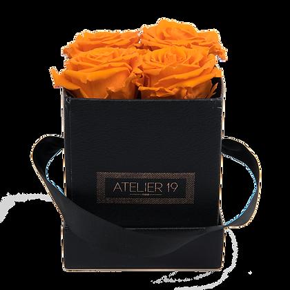 4 Roses Eternelles Orange Vibrant - Box carrée Noire