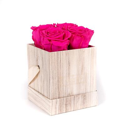 4 Eternal Roses - Fuchsia Peps - Light Wood square Box