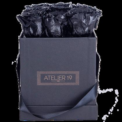 PLUS 9 ETERNAL ROSES - GLITTER BLACK - BLACK SQUARE BOX