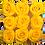 Thumbnail: 9 Roses Eternelles Jaune d'Or - Box carrée Rose Poudré