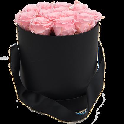 MAXI 15 ROSES ÉTERNELLES - ROSE TENDRE - BOX RONDE NOIRE