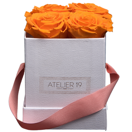 CLASSIC 4 ETERNAL ROSES - VIBRANT ORANGE - WHITE SQUARE BOX