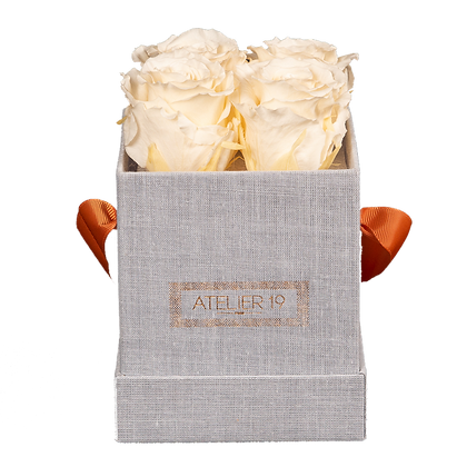 CLASSIC 4 ETERNAL ROSES - CHAMPAGNE - GREY SQUARE BOX