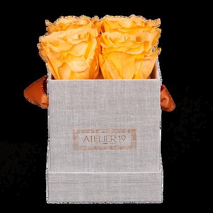 CLASSIC 4 ETERNAL ROSES - VELVET PEACH - GREY SQUARE BOX