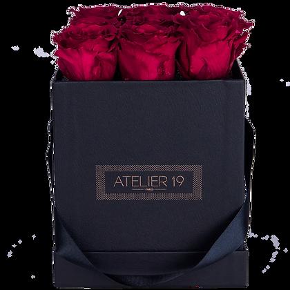9 Roses Eternelles Carmin Intense - Box carrée Noire