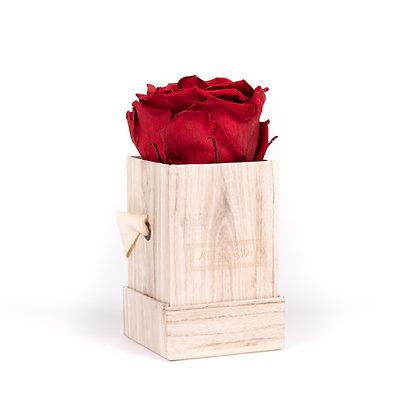 1 Rose Eternelle Carmin Intense - Box carrée Bois Clair