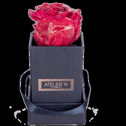 1 Rose Eternelle Rouge Pailleté - Box carrée Noire