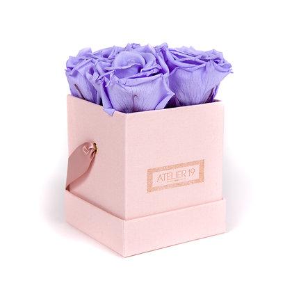 4 Roses Eternelles Parme Doux - Box carrée Rose Poudré