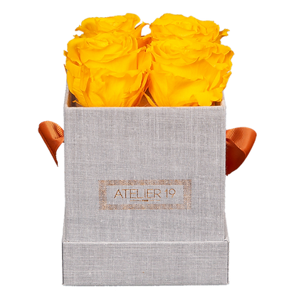 CLASSIC 4 ETERNAL ROSES - GOLDEN YELLOW - GREY SQUARE BOX