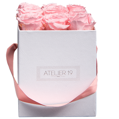 PLUS 9 ETERNAL ROSES - SOFT PINK - WHITE SQUARE BOX