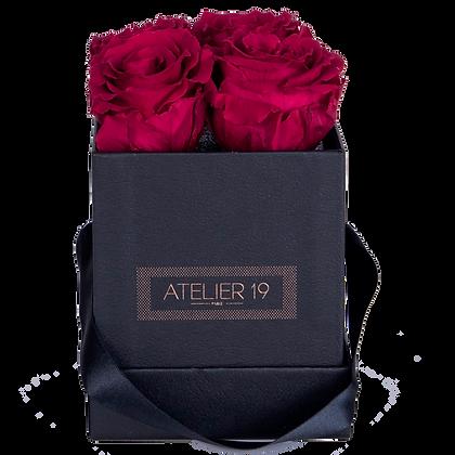 4 Roses Eternelles Carmin Intense - Box carrée Noire