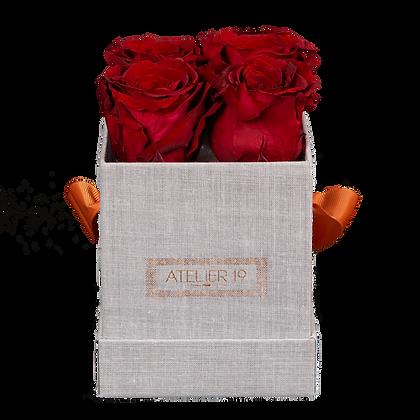 4 Roses Eternelles Carmin Intense - Box carrée Grise
