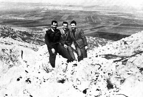 Eli Cohen with his friends from the Syrian Army in the Golan Heights, overlooking Israel.