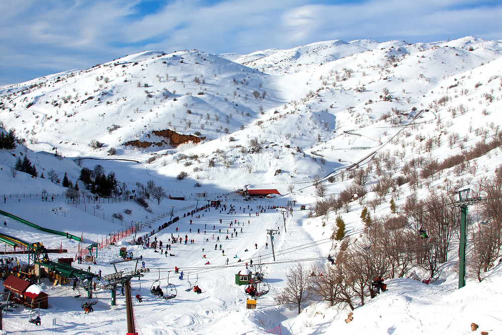 The snow covered ski slope of Israel's Mount Hermon in the winter