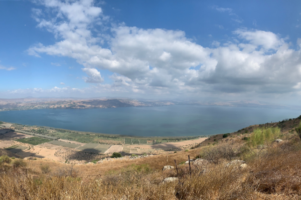View of the Kinneret and fields from a high altitude