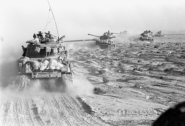 Tanks of the 14th Brigade advancing on the Crimson Axis in the Sinai Desert during the Six Day War