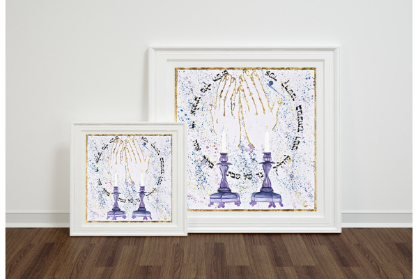 Two copies of artwork of two candlesticks and raised hands by Matanashops