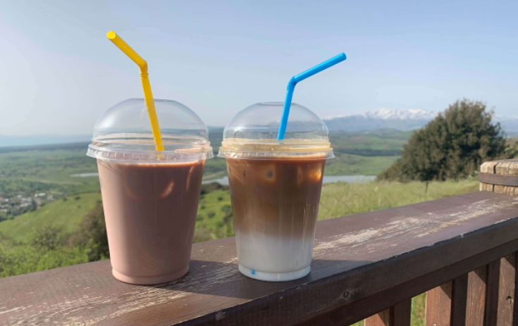 Two cups of ice coffee on Mount Arbel