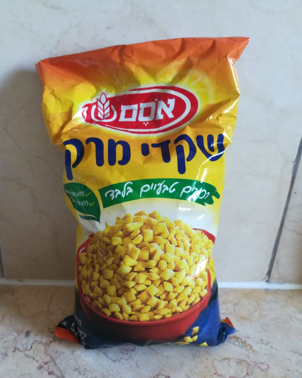 A bag of Israeli soup nuts by Osem leaning on a kitchen counter.