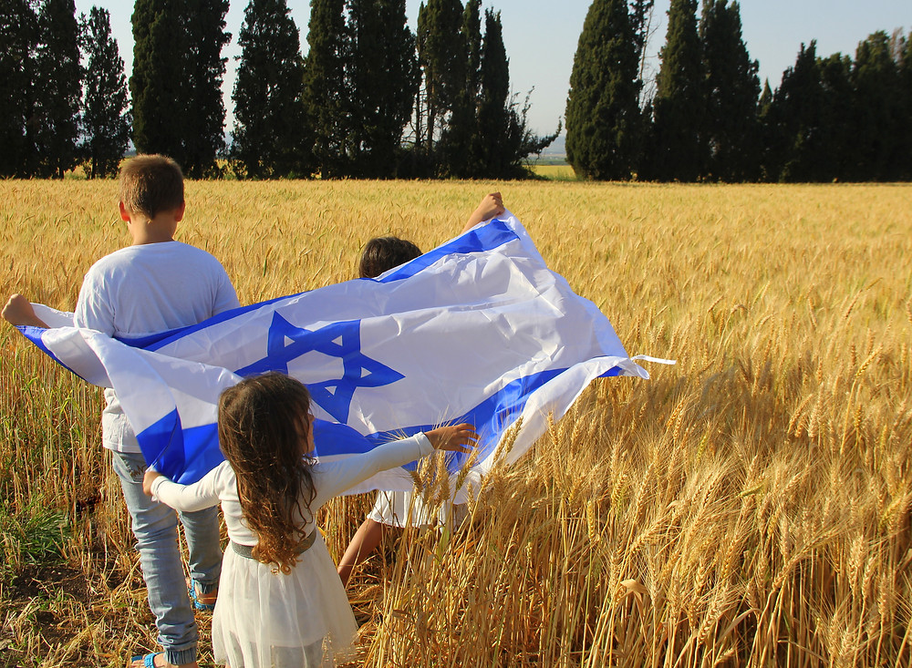 3 children holding an Israeli flag in the middle of a wheat field
