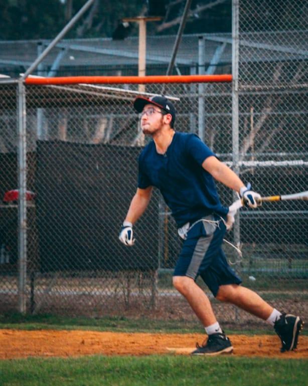 Oleh Judah Powers playing baseball
