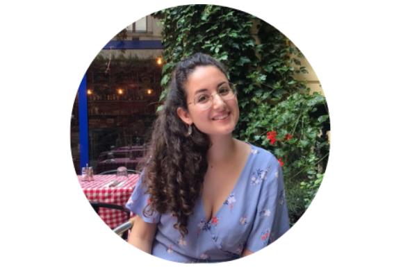Olah Chantelle Leiderman sitting outside a restaurant