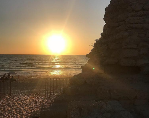 The sun setting over the Ashdod Yam Fortress