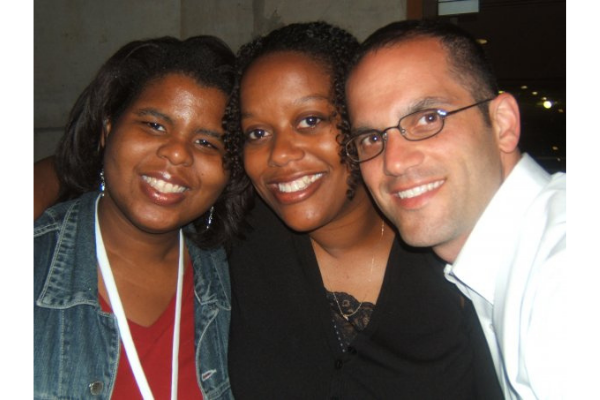 Dr. Janelle Christine Simmons on the far left with two friends to the right