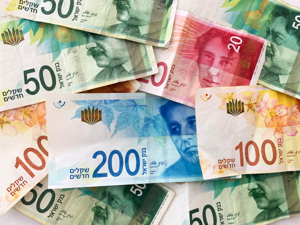 Pile of Israeli currency bills